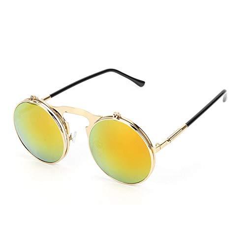 TSP Accesorios de ropa Moda UV400 Hombres Mujeres Retro Personalidad Marco de Metal Flip Gafas de sol (Color: 5)