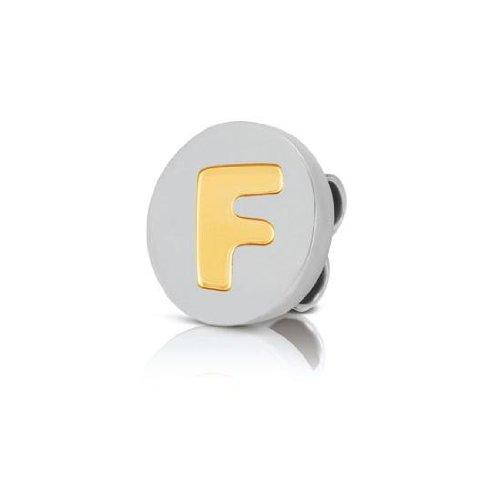 NOMINATION ITALY Disco de Acero Inoxidable con la Letra F en Oro de 18 Quilates para Llevar en el...