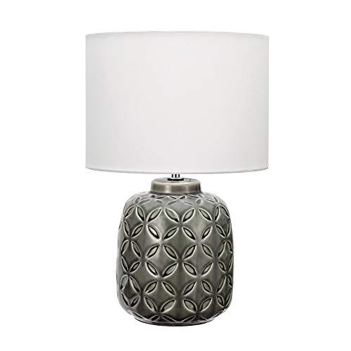Pauleen 48155 Glowing Bloom Tischleuchte Keramik Tischlampe mit Stoffschirm modern Weiß max40W E14 Grau/Weiß 230V Keramik