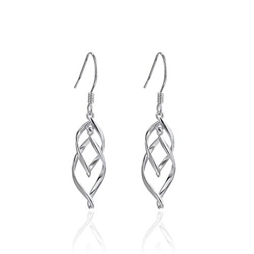 Pendientes De Temperamento Pendientes S925 STERLINAL SILVILLO Diamante Pendientes Femeninos Moda CRIENTES Simples Pops Y Joyas (Color : Silver, Size : A Pair)