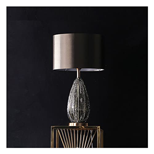 liushop Bedside Table Lamp Creative Glass Bedside Desk Lamp Copper Chassis Glass Lamp Body with Bubble Texture, Upper and Lower Lighting Lampshade Modern Bedroom Table Lamp Desk Lamp