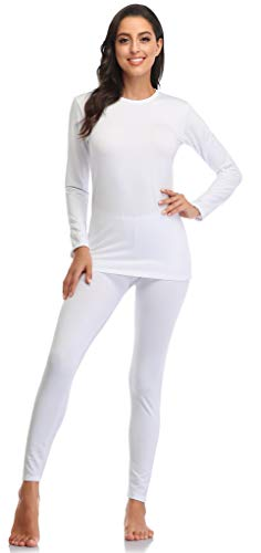 Thermal Underwear for Women Long Johns Women with Fleece Lined, Base Layer Women Cold Weather Top Bottom White