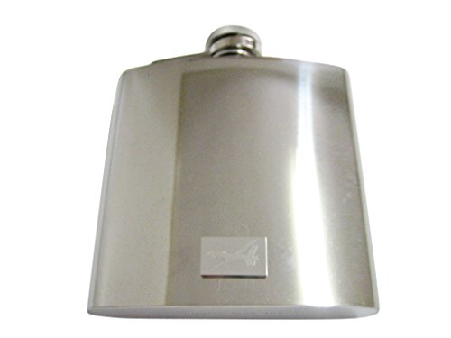 Silver Toned Etched Unmanned Aerial Vehicle UAV Drone V2 6 Oz. Stainless Steel Flask