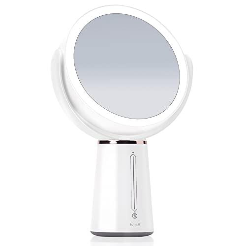 Fancii Espejo de Maquillaje con Luz LED y Aumento de Doble Cara 1x/10x, Recargable - Brillo Ajustable, Giratorio de 360°, Gran Espejo Cosmético de Mesa (Nova)