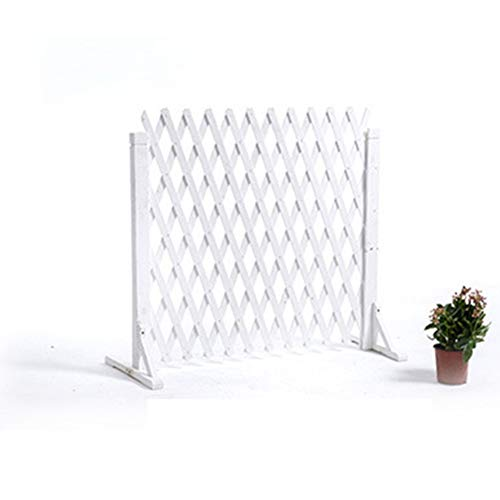 ZENGAI Garden Fence Expanding Wooden Fence Privacy Screen Extendable Instant Fence Decorative White Thick 0.7cm (Size : 160x80cm)