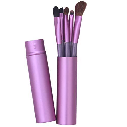 INSEET Maquillage Brosses Pour Les Yeux 5Pc Set-Premium Synthétique Manche En Bois Fard À Paupières Mélange Brosses Avec Étui Pour Ombrage Mélange Ombre À Paupières, violet