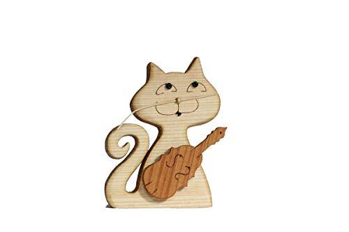 Holzkatze Holzkunst Geige Violine Katzenmusik