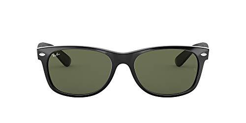 Ray-Ban RB2132 New Wayfarer Sunglasses, Black/Crystal Green, 55 mm