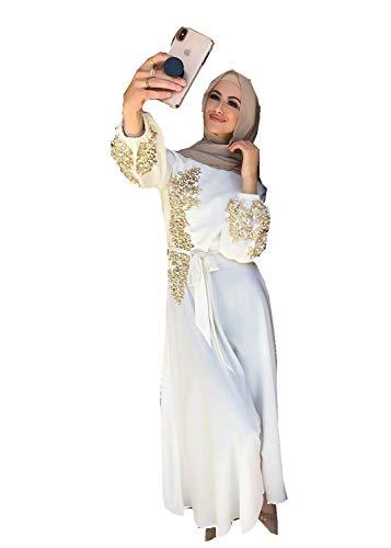 HZUX Elegant Muslim Women's Long Dress Women Dubai Dress Kaftan Abayas Islamic Abaya White