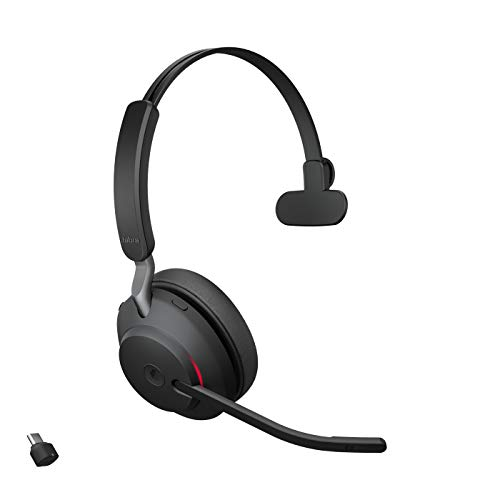 Jabra Evolve2 65 Wireless Headset – Noise Cancelling Microsoft Teams Zertifizierte Mono Kopfhörer mit langer Akkulaufzeit – USB-C Bluetooth Adapter – schwarz