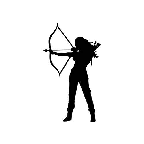 Autoaufkleber für Bogenschießen, wasserfester Vinyl-Aufkleber, Auto-Aufkleber, Jagdbogen und Pfeil, Frauenkrieger, Schwarz/Silber, 9,1 cm x 15,6 cm, 2 Stück