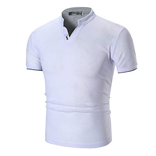 XDJSD Camiseta Camiseta De Manga Corta para Hombre Camisetas Polos De Manga Corta para Hombre Puños De Color Liso para Hombre Cuello Alto a Rayas Medio Cuello Polos Camisetas Camisetas