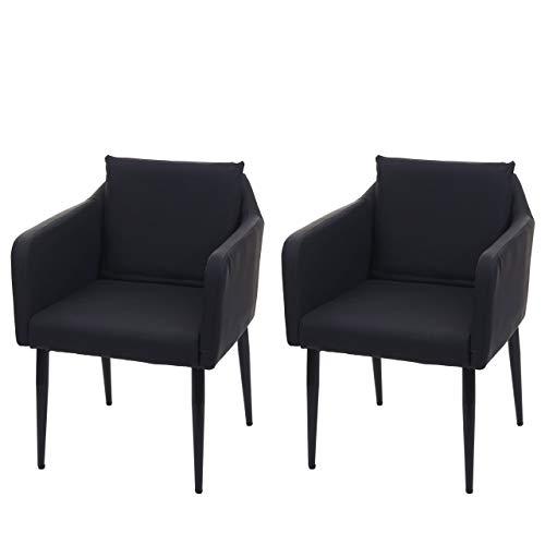 Mendler 2X Esszimmerstuhl HWC-H93, Küchenstuhl Lehnstuhl Stuhl - Kunstleder schwarz