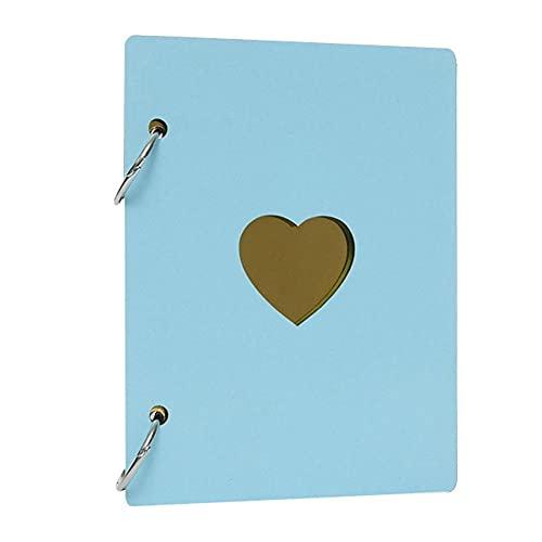 XKMY Álbum de fotos de 15,24 cm con forma de corazón, de madera, de hojas sueltas para el crecimiento del bebé, libro de bricolaje (color: azul cielo)