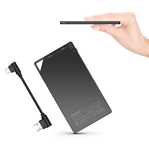 TNTOR 5000mAh Ultra Thin Power Bank Wallet & Pocket Size [only 6mm] Compact External Slim Battery Charger with Portable Type-C Cable