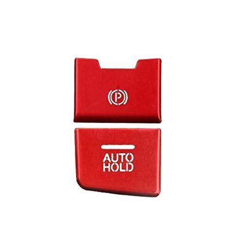 para Mazda Axela 3 CX-4 CX-5 LHD Car Styling Freno De Mano del Freno De Estacionamiento Bloqueo AUTOMÁTICO Y Botón De Ajuste Cubierta De La Etiqueta Engomada Multimedia (Color : 2pcs Rojos)