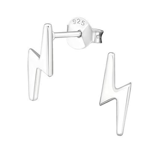Pendientes de tuerca pequeños de plata de ley con diseño de rayo de 11 mm