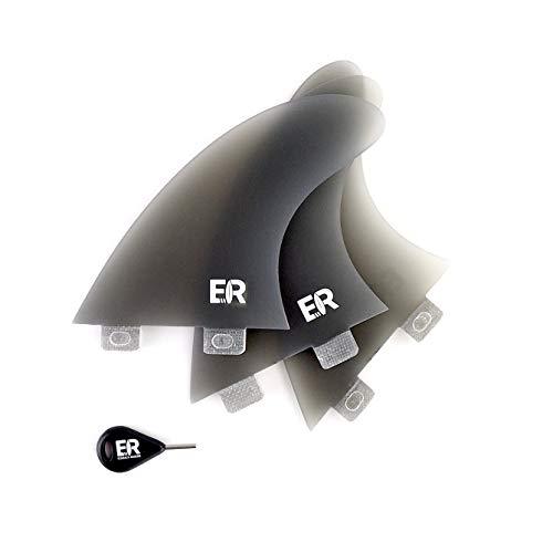 Eisbach Riders Surfboard FCS Fiberglass Fin Thruster Set con Fin Key (tamaño mediano) – Aletas para tabla de surf y SUP (Sea Glass, Medium - G5)