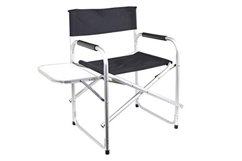 Leisurewize Directors Chair With Side Table, Outdoor Chair For Carvanning, Camping, Back Garden, Fishing & Festivals - Black (LW646)