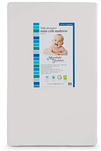 Moonlight Slumber Little Dreamer Dual Sleep Surface 5' Mini Crib Mattress - Waterproof, Hypoallergenic, Lightweight Porta Crib Mattress with Extra Firm Infant Side and Plush Toddler Side (38x24x5)