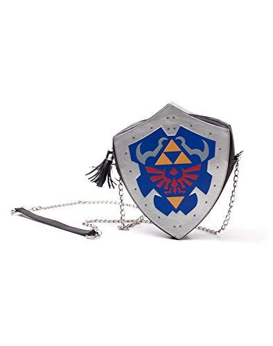 ZELDA Nintendo Legend Hylian Shield Shaped Damen Schultertasche mit Kette Casual Daypack 22cm Blau