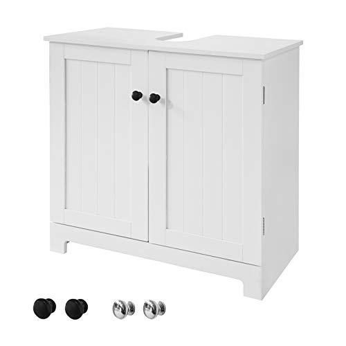 SoBuy BZR18-W Wastafelmeubel Onderkast Wastafelonderkast Badkamerkast 2 deuren met verstelbare legplank hout – Wit