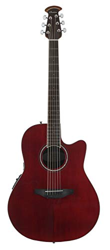 Ovation 6 String Acoustic-Electric Guitar, Right Handed, Ruby Red (CS24-RR)