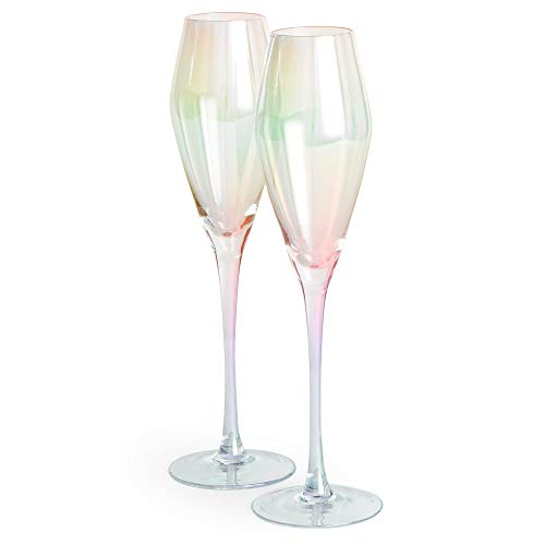Beautify Schillernde Champagnergläser - Sektgläser - Champagner Flöten - Set mit 2 Champagnergläsern - Prosecco-Gläser