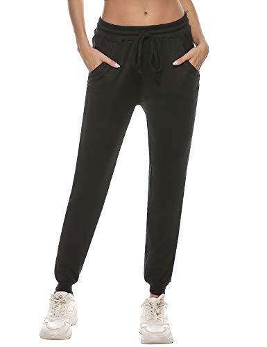 Sykooria Jogginghose Damen Waffel-Strickhose High Waist Sweathose Sporthose Lang Slim Fit Freizeithose Baumwolle für Yoga Jogging Laufen Fitness