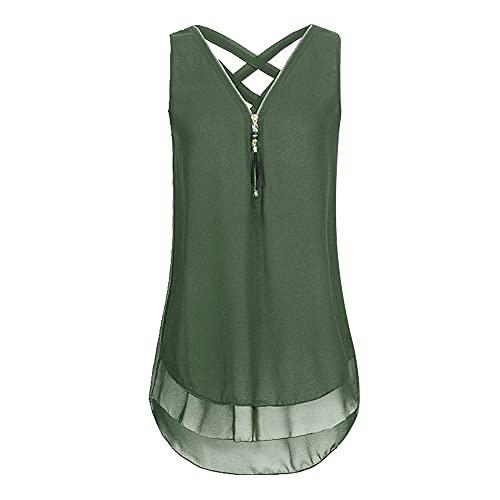 Camiseta Sin Mangas Mujer Moda Color Sólido Cuello V Verano Sin Mangas Mujer T-Shirt Único Sexy Cremallera Diseño Diario Casual Vacaciones Playa Mujer Top F-Army Green XXL