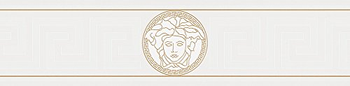 Versace wallpaper Bordüre Greek grafisch 5,00 m x 0,13 m metallic weiß Made in Germany 935223 93522-3