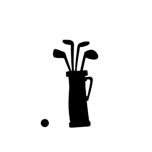 Empty 4 Stück Autoaufkleber7.5 * 11.5CM Interessante Golfschläger Tasche Aufkleber Dekor Autoaufkleber Silhouette Vinyl Zubehör
