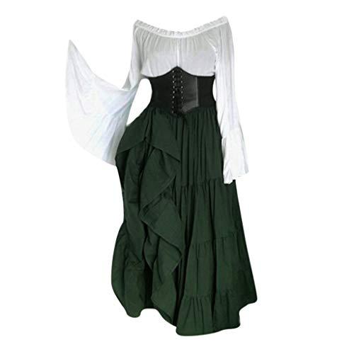Damen Renaissance Carmen Kleid Retro Trompetenärmel Bodenlanges Kostüm Gewand Mittelalter Viktorianisches Prinzessin Kleidung Große Größen Mittelalter Gothic Kleid