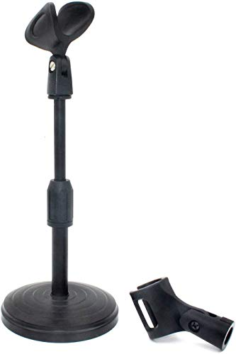 ZRAMO Desk Top Adjustable Stand for Retro Microphone Large Size Microphone, come with Two Clip (not Including any Mics)