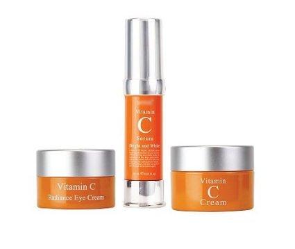 Best Set Vitamin C, Vitamin C Radiance Eye Cream + Vitamin C Serum + Vitamin C Cream Bright and Whitening Set of 3