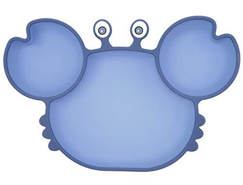 Piatto per bambini in silicone, Tappetini Antiscivolo con forte aspirazione adatta FDA e BPA Portatile per seggiolone e viaggi per Neonati Tovaglietta Piastra Divide (Crab Blue)