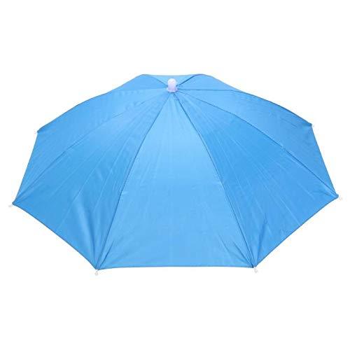 ZGMMM Outdoor Sonnenschirm Hut Anti-Regen-Gummiband Kopf Regenschirm Outdoor Angeln Sonnenschutz Werkzeug Headwear CapSky Blue