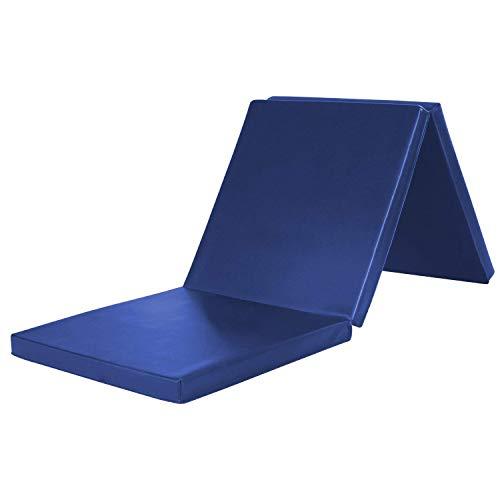 Kemket Tri-Fold Ejercicio Mat con Chapado en Yoga Pilates Ejercicio Fitness EVA de célula Cerrada Espuma Antideslizante Mat 180cm x 60cm x 5cm, Azul