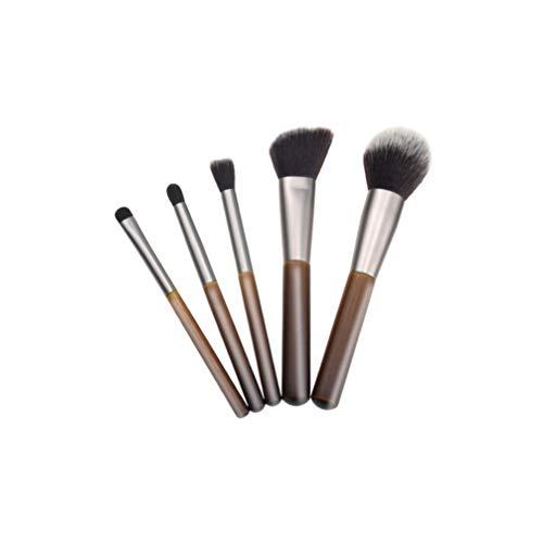 Minkissy 5pcs brosses cosmétiques bambou poignée brosses fondation brosse accessoires cosmétiques brosses à poils doux pour les femmes filles salon