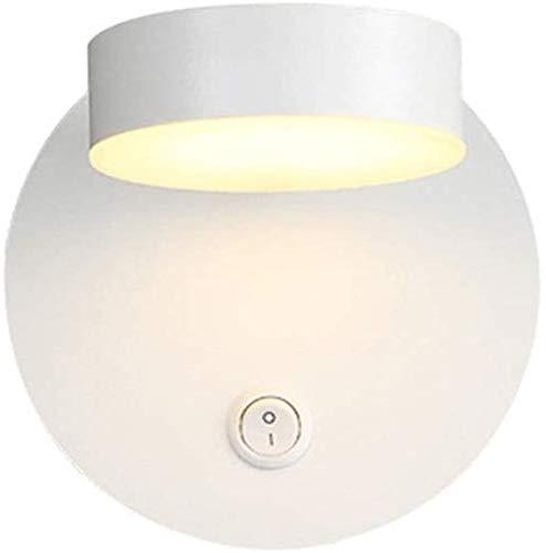 Aplique de pared industrial LED, 7W LED Wall Sconence Light 360 ° espejo de aluminio giratorio luz delantero AC 85-265V Luz de panel acrílico Simple arriba abajo lámpara de pared Dormitorio con interr