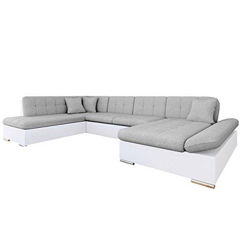 Mirjan24 Ecksofa Bergen Design Eckcouch mit Schlaffunktion und Bettkasten, Regulierbare Armlehnen, U-Form Sofa vom Hersteller, Wohnlandschaft (Soft 017 + Bristol 2460, Ecksofa: Rechts)