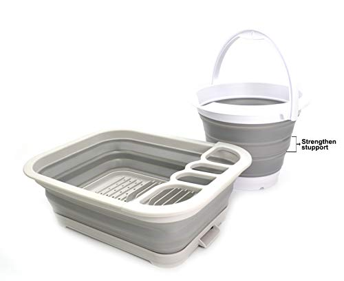 SAMMART 2pcs Kitchen & Outdoor Set: Collapsible Dish Drainer with Drainer Board & Collapsible Plastic Bucket (Grau+Grau, 2)