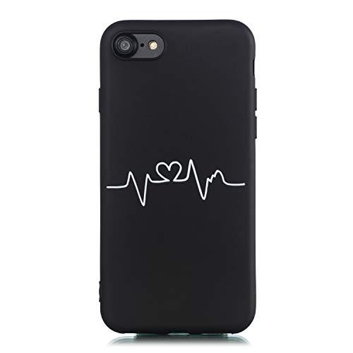 CUAgain Cover Compatibile per iPhone 8/iPhone 7/iPhone SE 2020 Silicone con Disegni Motivo Nero Gomma Antiurto CaseUltrasottile Resistente Protettiva Bumper Custodia per Uomo Donna,Curva del Cuore