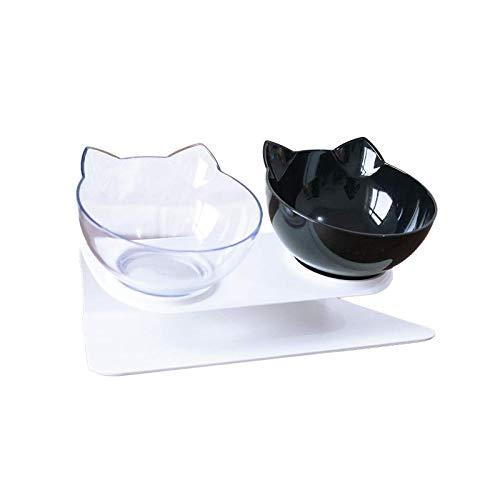 Cuencos dobles antideslizantes ajustables para gatos con soporte elevado, alimentador de agua para mascotas