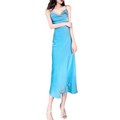 N\P Verano temperamento cintura delgada falda de satén de longitud media delgada vestido largo vestido de tirantes vestido de mujer
