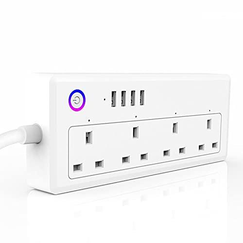 iconxc Extensor tomacorrientes Enchufe Inteligente Protector sobretensión regleta enchufes Inteligentes con 4 tomacorrientes Inteligentes controlados Individualmente y 3 Puertos USB