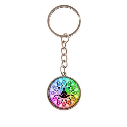Schlüsselanhänger mit Kreis, Chakra-Heilung, Meditation, Buddha, Balance, Yoga, mit Regenbogen-Details und gebürsteter Antik-Goldkette