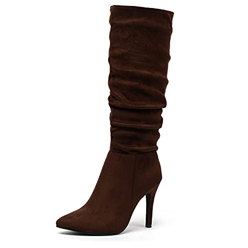 Katliu Women Suede Knee High Boots Pointed Toe Stiletto Boot Slouchy Zipper High Heel Boots Brown