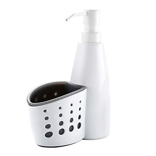 Volking Dispenser di Sapone con Porta Spugna, Pratico organizzatore di lavelli da Cucina in plastica con Dispenser per Sapone Liquido e Rack per spugne