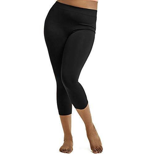 Sofra Women's Plus Size Cropped Capri Solid Leggings-Black